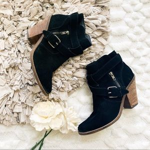 Dolce Vita Black Suede Buckle Ankle Booties